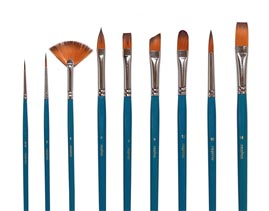 Aquarell-Pinselset mit 8 Toray Künstlerpinseln