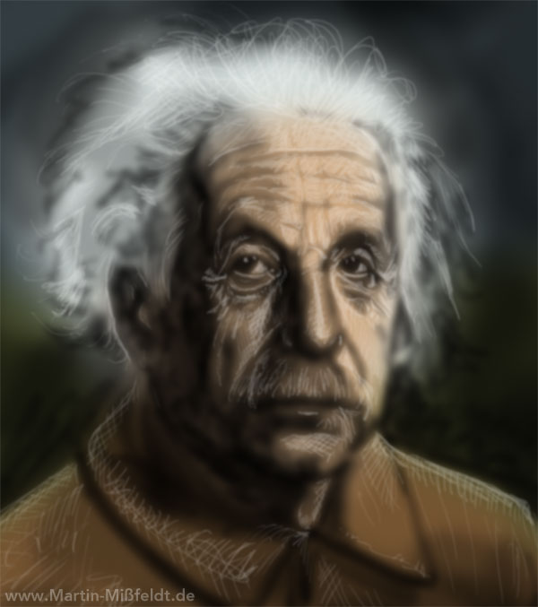 Digital Portrait of Albert Einstein - Early Stage