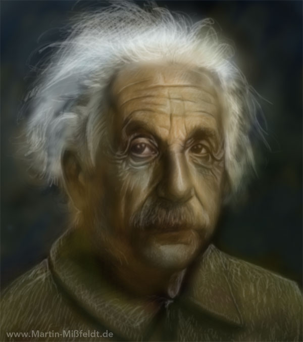 Einstein Portrait, digitally painted (solidly finished)