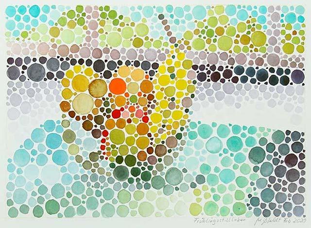 Frühlingsstillleben (Farbsehtest) Aquarell von Martin Mißfeldt