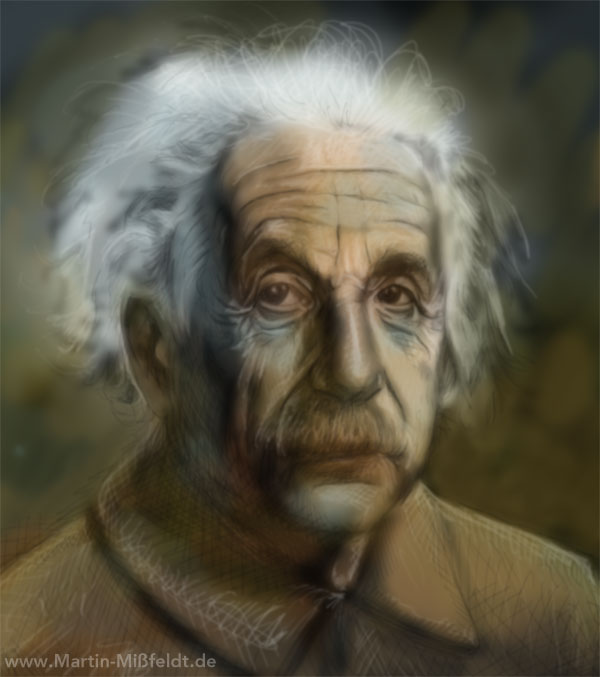 Painting digital - Creation of the portraits of Albert Einstein