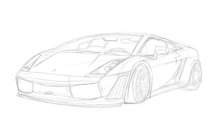 Drawing (Sketch) of the Lamborghini