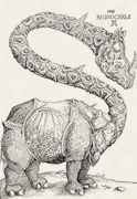 1: Rhinozeros (Holzschnitt nach Albrecht Dürer)