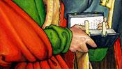 Die Hände von Johannes mit der Bibel