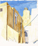 Aquarell: Klostermauern