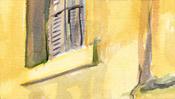 Gelbe Wand und Fensterladen