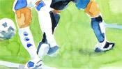 Aquarell Fussball-Beine
