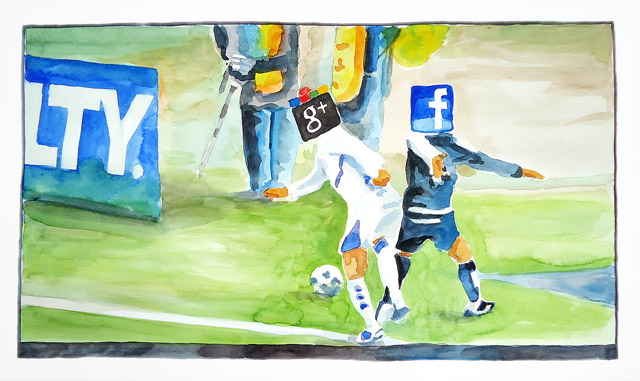 Aquarell: Google vs. facebook