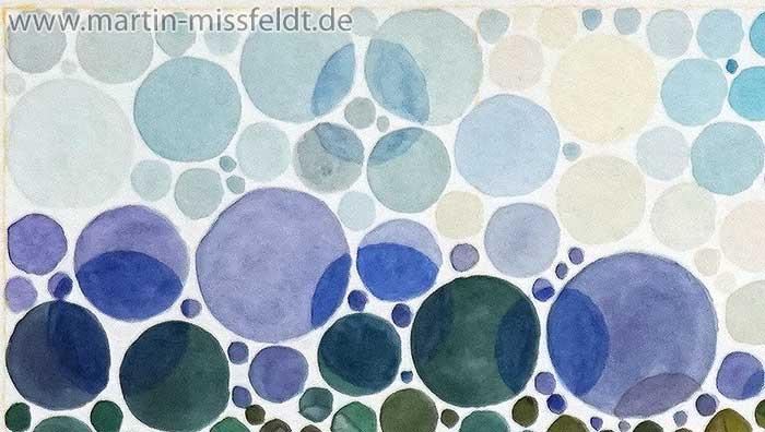 Landschaft Heuschober Aquarell Farbsehtest (Detail 1)