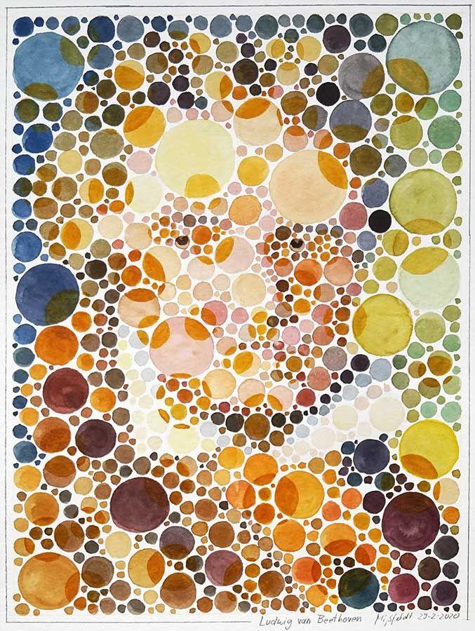 Aquarell-Portrait: Ludwig van Beethoven (Farbsehtest)