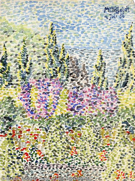 Aquarell: Garten auf Capri