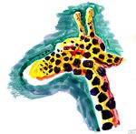 Giraffenkopf (Aquarellbild)