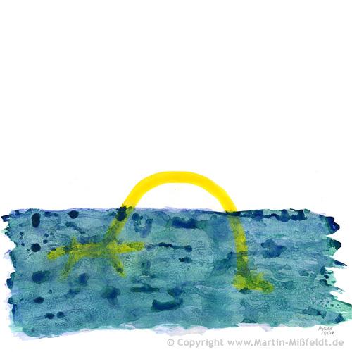 Aquarell: Giraffe schwimmt im Meer