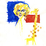 Aquarell: Marilyn schakert mit Giraffe