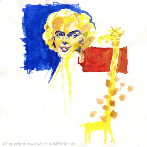 Marilyn schakert mit Giraffe