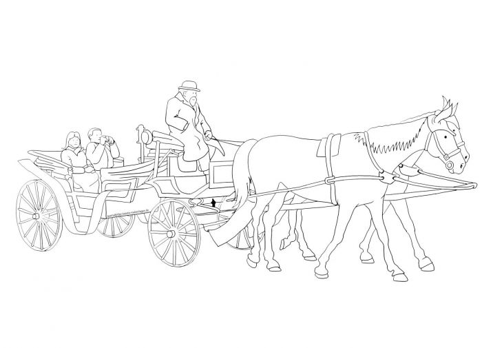 Ausmalbild Pferdekutsche