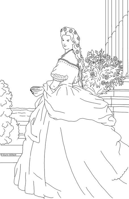 Ausmalbild: Prinzessin Sissi