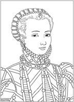 Ausmalbild: schönes Mädchen (Marie Antoinette)