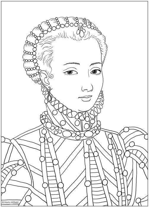 Ausmalbild Schönes Mädchen Marie Antoinette