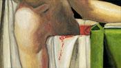 Der Oberkörper in der blutigen Badewanne