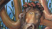 Alter Mann mit Bart und Blumen im Haar (Europa)