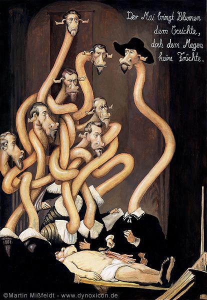 Giraffen Cartoon (von Mißfeldt, 2006) - nach Rembrandts Anatomie des Dr. Tulp.