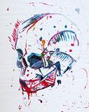 Acrylmalerei: Action-painting Totenkopf
