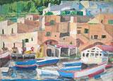 Ölbild: Insel Capri: Hafen