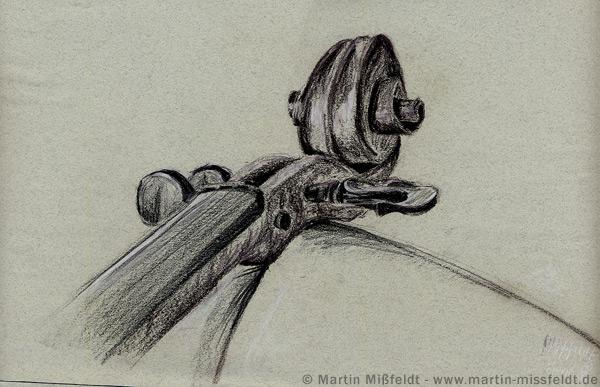 Wirbel und Schnecke einer Violine