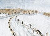 Winterlandschaft mit Wasserfarbe