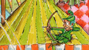 Robin Hood auf Zeltdach