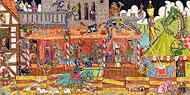 Colorierte Illustration: Hochkultur der Weltgeschichte: Das Mittelalter