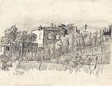 Bleistift Zeichnung: Campo Agosto auf Capri