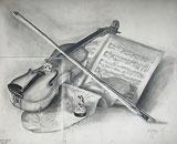 Bleistift Zeichnung: Stillleben mit Geige