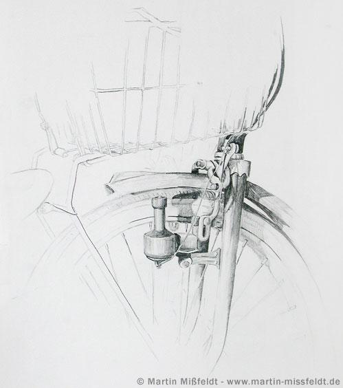 Zeichnung: Fahrrad Ausschnitt, Dynamo
