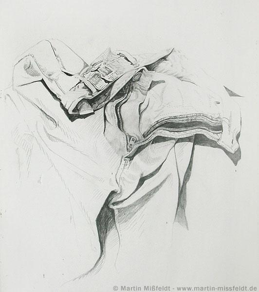 Studie einer Hose mit Reißverschluss