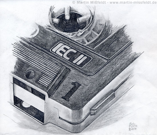 Zeichnung einer Kassette, Bleistift auf Papier, 36 x 40 cm (1988)