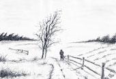 Bleistift Zeichnung: Winterlandschaft