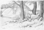 Bleistiftzeichnung Landschaft mit Hünengrab