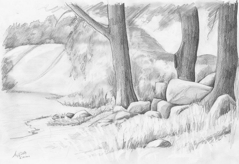 Super Bleistiftzeichnung Landschaft mit Hünengrab &WQ_59