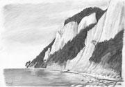 Bleistiftzeichnung: Kreidefelsen auf Rügen