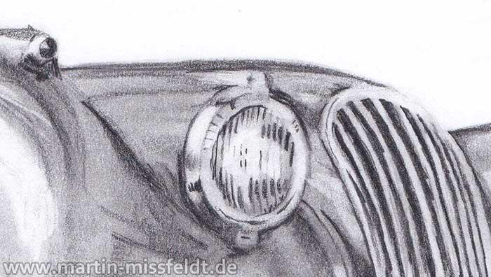 Bleistiftzeichnung Oldtimer Jaguar Xk 120 (Detail 1)