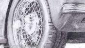 Bleistiftzeichnung Oldtimer Jaguar Xk 120 (Detail 4)