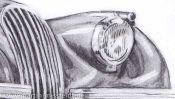 Bleistiftzeichnung Oldtimer Jaguar Xk 120 (Detail 5)
