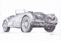 Oldtimer Jaguar XK 120 (Bleistiftzeichnung)
