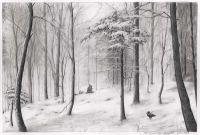 Bleistiftzeichnung Schneelandschaft: Verschneiter Wald