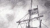 Bleistiftzeichnung Segelschiff (Detail 1)