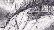 Bleistiftzeichnung Segelschiff (Detail 2)