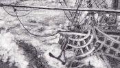 Bleistiftzeichnung Segelschiff (Detail 3)