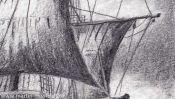 Bleistiftzeichnung Segelschiff (Detail 4)
